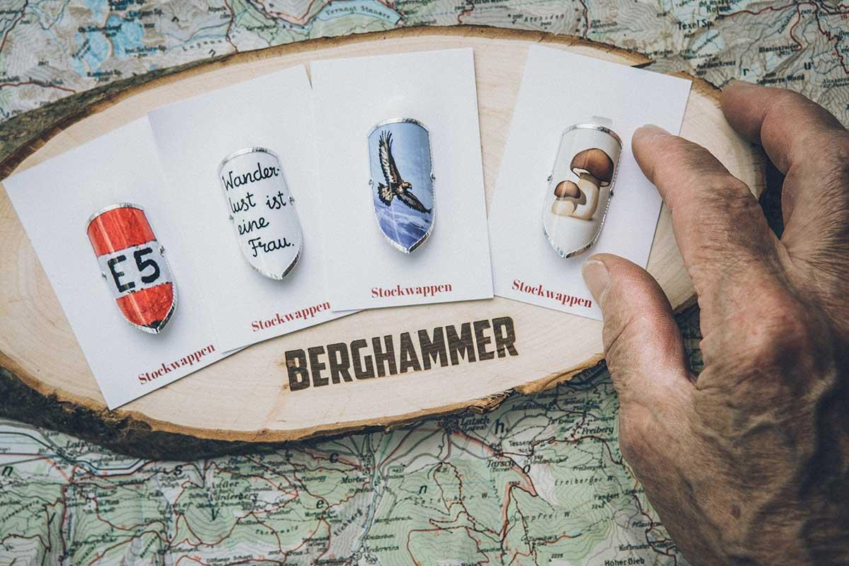 berghammer_stockwappen_heritage_E5_fernwanderweg_wanderlustisteinefrau_adler_steinpilze
